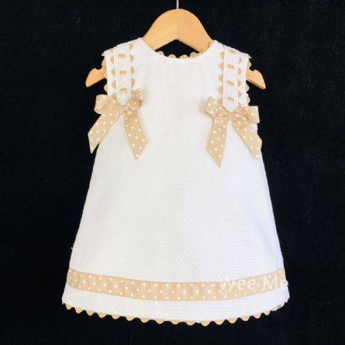 *SALE* Beautiful Wee Me Baby Girl White Spanish Dress with Beige Bow